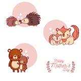 De gelukkige kaart van de moedersdag met leuke dierenbeeldverhalen Stock Fotografie