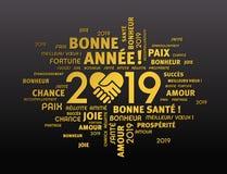 De gelukkige kaart van de Nieuwjaar 2019 Groet in het Frans vector illustratie