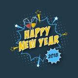 De gelukkige kaart van de Nieuwjaar 2018 groet met grappig teksteffect, halftone effect, glazen champagne en sterren Stock Afbeelding