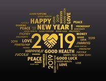 De gelukkige kaart van de Nieuwjaar 2019 Groet voor het delen vector illustratie
