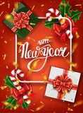De gelukkige kaart van de Nieuwjaar van letters voorziende groet voor vakantie Gouden confettiendalingen Kalligrafie het van lett stock afbeelding
