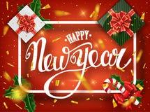 De gelukkige kaart van de Nieuwjaar van letters voorziende groet voor vakantie Gouden confettiendalingen Kalligrafie het van lett royalty-vrije stock foto's