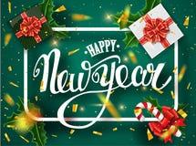 De gelukkige kaart van de Nieuwjaar van letters voorziende groet voor vakantie Gouden confettiendalingen Kalligrafie het van lett royalty-vrije stock afbeeldingen