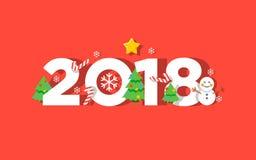 De gelukkige kaart van de Nieuwjaar 2018 vectorgroet Stock Foto
