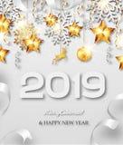 De gelukkige kaart van de Nieuwjaar vectorgroet vector illustratie