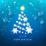 De gelukkige Kaart van de Nieuwjaargroet in Blauwe Kleuren Kerstboomsilhouet van Document Sneeuwvlokken Gelukkig Nieuwjaar en Vro vector illustratie