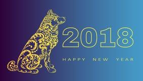 2018 de Gelukkige kaart van de Nieuwjaargroet Jaar van de Hond Chinees Nieuwjaar met hand getrokken krabbels Vector illustratie Stock Afbeeldingen