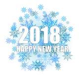 De gelukkige kaart van de Nieuwjaargroet met glanzende witte teksten en sneeuw op witte achtergrond 2018 Vector vector illustratie