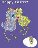 De gelukkige kaart van Pasen met kippen Royalty-vrije Stock Foto