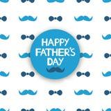 De gelukkige kaart van de Vader` s dag met blauwe snor en vlinderdas op wh Stock Foto's
