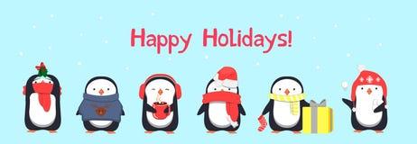 De gelukkige kaart van de Vakantiegroet met pinguïnen vector illustratie