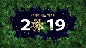 De gelukkige kaart van de de vakantiegroet van de Nieuwjaar 2019 winter of bannerontwerpsjabloon vector illustratie