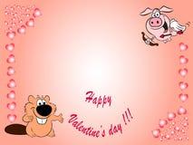 De gelukkige kaart van de valentijnskaart`s dag Stock Afbeelding