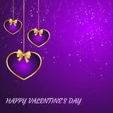 De gelukkige kaart van de valentijnskaartendag Harten op een purpere achtergrond met de inschrijving op het feest van St Valentin stock illustratie