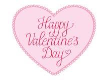 De gelukkige Kaart van de Valentijnskaartendag met kanthart Royalty-vrije Stock Afbeelding