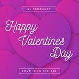 De gelukkige kaart van de Valentijnskaartengroet met wens op hartenachtergrond Stock Foto