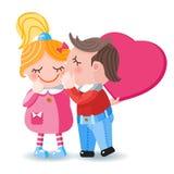 De gelukkige kaart van de valentijnskaarts dag met het kussen van paar Stock Foto's