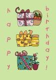 De gelukkige kaart van verjaardags grappige giften Vector Illustratie