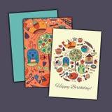 De gelukkige kaart van de verjaardags vectorgroet met abstracte krabbelvogels en bloemen stock afbeeldingen