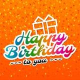 De gelukkige kaart van de Verjaardagsgroet met het van letters voorzien ontwerp Royalty-vrije Stock Afbeelding
