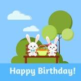 De gelukkige kaart van de Verjaardagsgroet met jongen en meisjes zoete konijntjeskonijnen stock illustratie