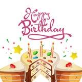 De gelukkige kaart van de verjaardagsgroet met leuke scherp royalty-vrije illustratie