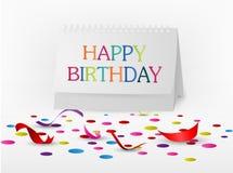 De gelukkige kaart van verjaardagsgroeten met notadocument Stock Foto