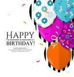 De gelukkige kaart van de Verjaardagsuitnodiging met kleurrijke ballons in vlakke stijl Vector Vector Illustratie