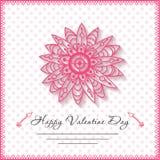 De gelukkige kaarten van de valentijnskaartendag met bloem  Stock Foto