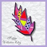 De gelukkige kaarten van de valentijnskaartendag met bloem  Royalty-vrije Stock Foto