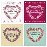 De gelukkige kaarten van de valentijnskaartendag met bloemenornament, hart, lint, Stock Afbeelding
