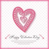 De gelukkige kaarten van de valentijnskaartendag met hart  Stock Fotografie