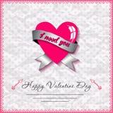 De gelukkige kaarten van de valentijnskaartendag met hart  Stock Afbeelding