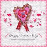 De gelukkige kaarten van de valentijnskaartendag met hart  Royalty-vrije Stock Foto