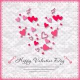 De gelukkige kaarten van de valentijnskaartendag met hart  Royalty-vrije Stock Afbeelding
