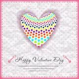De gelukkige kaarten van de valentijnskaartendag met hart  Stock Foto