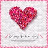 De gelukkige kaarten van de valentijnskaartendag met hart  Royalty-vrije Stock Foto's