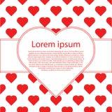 De gelukkige kaarten van de valentijnskaartendag met harten en tekstkader Stock Foto's