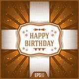 De gelukkige kaarten van de verjaardagsgroet Het winkelen markeringen en pictogrammen De Illustratie van het vieringslint Stock Afbeeldingen