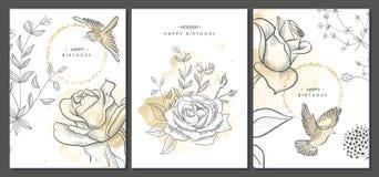 De gelukkige kaarten van de verjaardagsgroet met hand getrokken bloemen en vogels Vector illustratie Trendy Achtergrond Moderne r stock illustratie