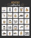 De gelukkige kalender van de Kerstmiskomst met symbolen Stock Afbeelding