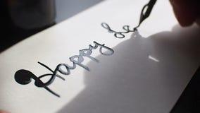De gelukkige kalligrafie van de arbeids` s dag en lattering prentbriefkaar stock footage
