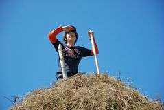 De gelukkige kerel op een hooiberg Royalty-vrije Stock Fotografie