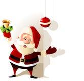 De gelukkige Kerstman over witte spatie Royalty-vrije Stock Afbeeldingen