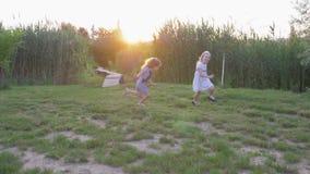 De gelukkige kinderen, het actieve spel van pretmeisjes lopen en lopen op groen gazon in aard in zonlicht de achterstand in stock videobeelden
