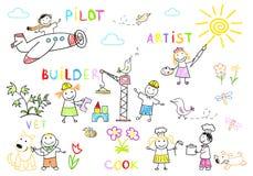 De gelukkige kinderen in het werk dragen vector illustratie