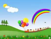 De gelukkige kinderen leiden op Stock Foto's