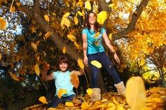 De gelukkige Kinderen met Kleurrijke Daling gaat in openlucht weg Royalty-vrije Stock Foto