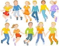 De gelukkige kinderen springen - reeks springende kinderen vector illustratie