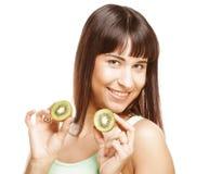 De gelukkige kiwi van de vrouwenholding Stock Afbeelding